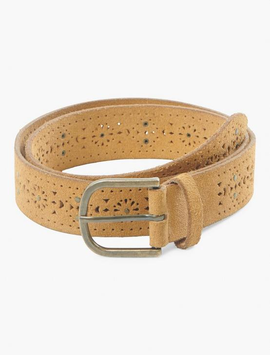 DELICATE PERFORATED BELT, TAN, productTileDesktop