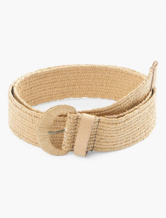 WOVEN COVERED BUCKLE BELT, #130 NATURAL, productTileDesktop