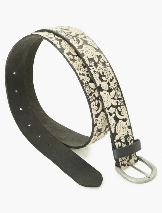 FLORAL EMBROIDERED BELT, BLACK, productTileDesktop