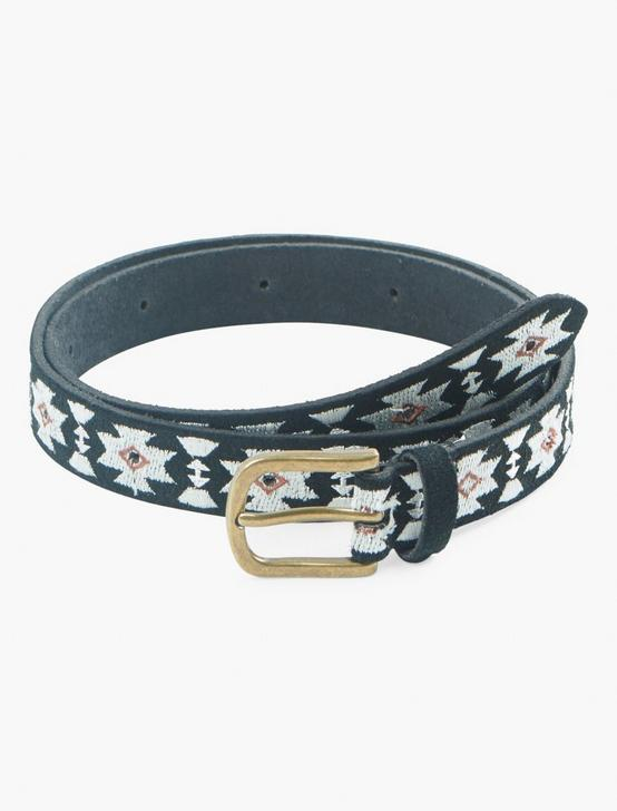 GEO EMBROIDERED BELT, BLACK, productTileDesktop