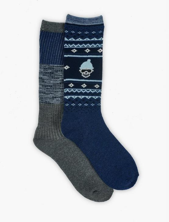 MENS SKI SKULL CUSHION SOCKS, DARK BLUE, productTileDesktop