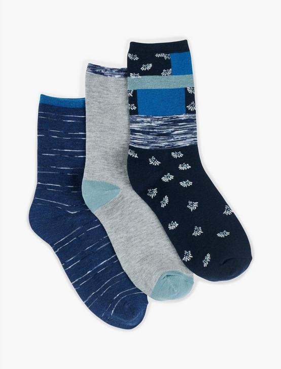LUMI DITSY CREW SOCKS, DARK BLUE, productTileDesktop
