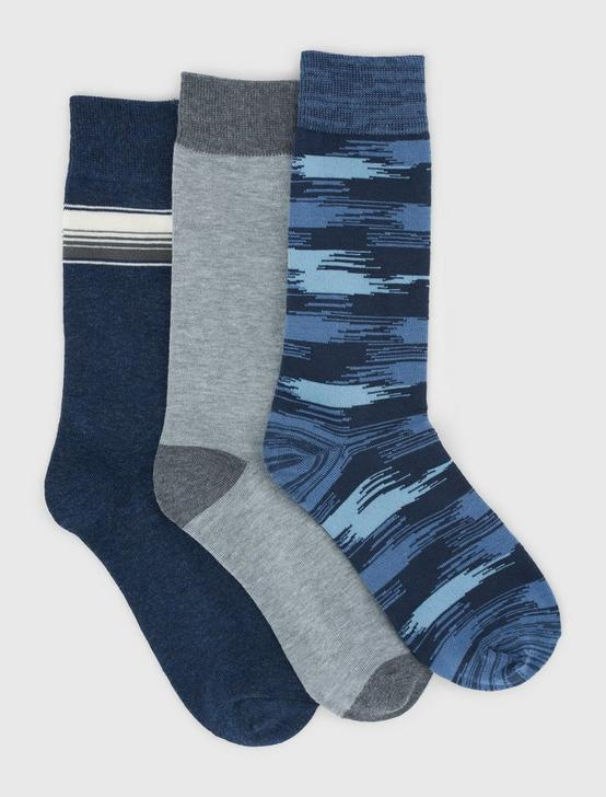 3PACK IKAT SPACE DYE SOCK, DARK BLUE, productTileDesktop