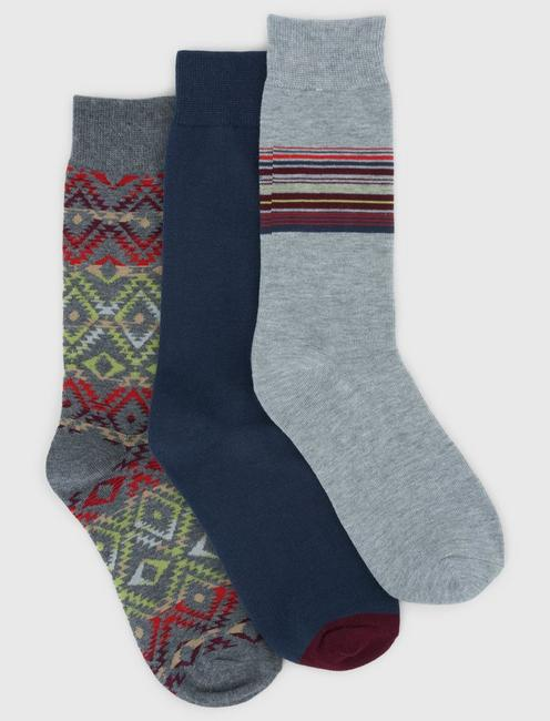 3PACK NEW MEXICO MENS CREW SOCKS, CHARCOAL