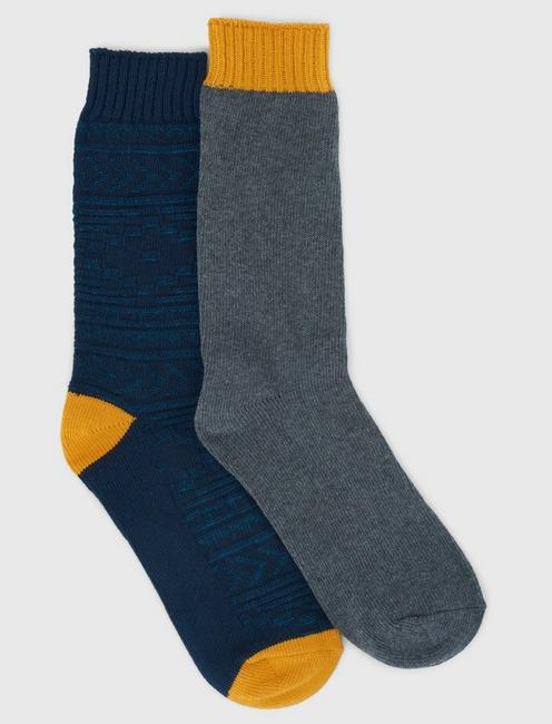 2PACK TEXTURED MENS CREW SOCKS, RINSE
