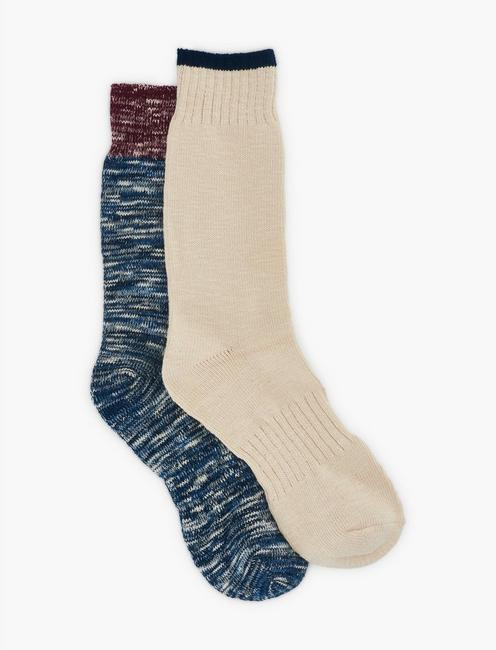 2PACK COLOR BOCK MENS SLUB CREW SOCK, DARK BLUE
