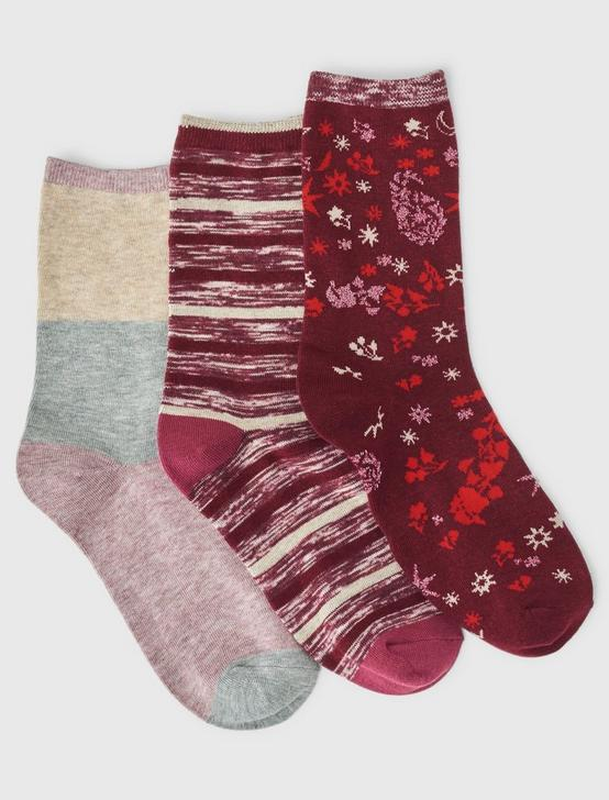 3PACK STRIPPED RIB SOCKS, DARK RED, productTileDesktop