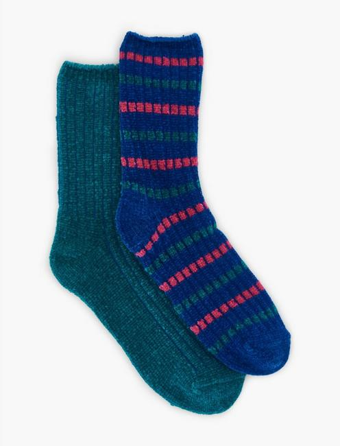 2 PACK RIBBED CHENILLE SOCKS, RINSE