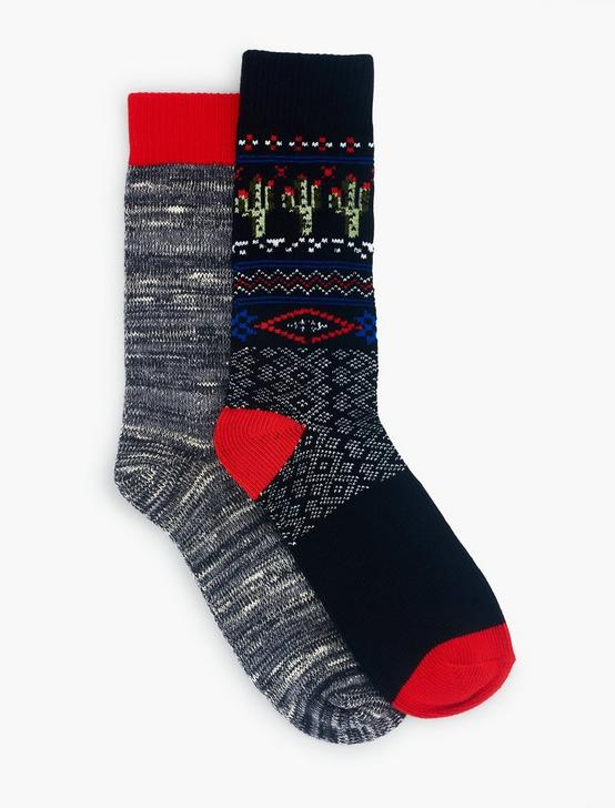2PACK CACTUS FAIR ISLE CREW SOCK, BLACK, productTileDesktop