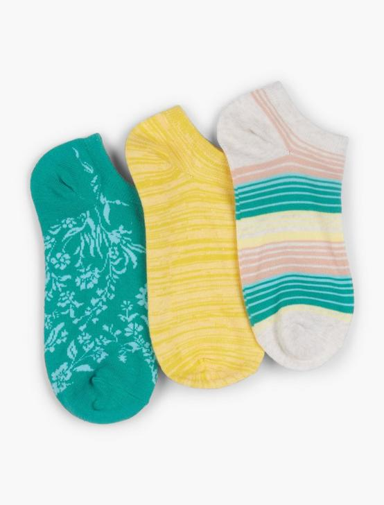 3 PACK PICNIC FLORAL SOCK, DARK GREEN, productTileDesktop
