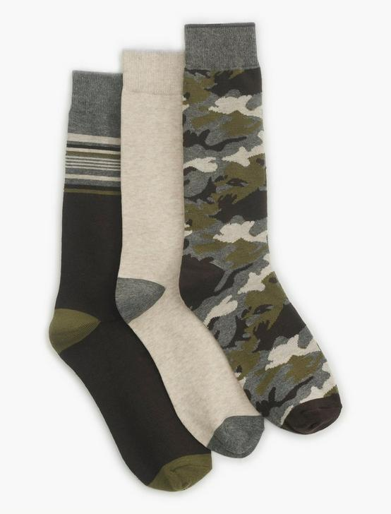 MENS CAMO MULTI SOCKS, DARK BROWN, productTileDesktop