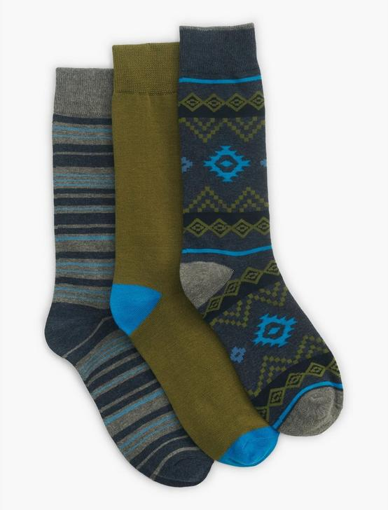 MENS GEO PRINT SOCKS, DARK BLUE, productTileDesktop