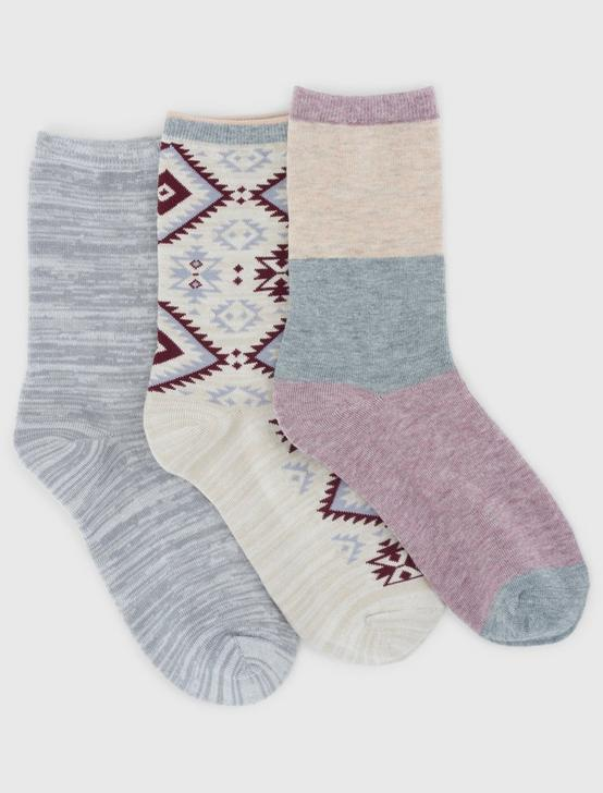 3 PACK GEO MULTI SOCKS