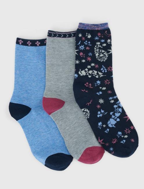3 PACK FLORAL LUREX SOCKS, DARK BLUE