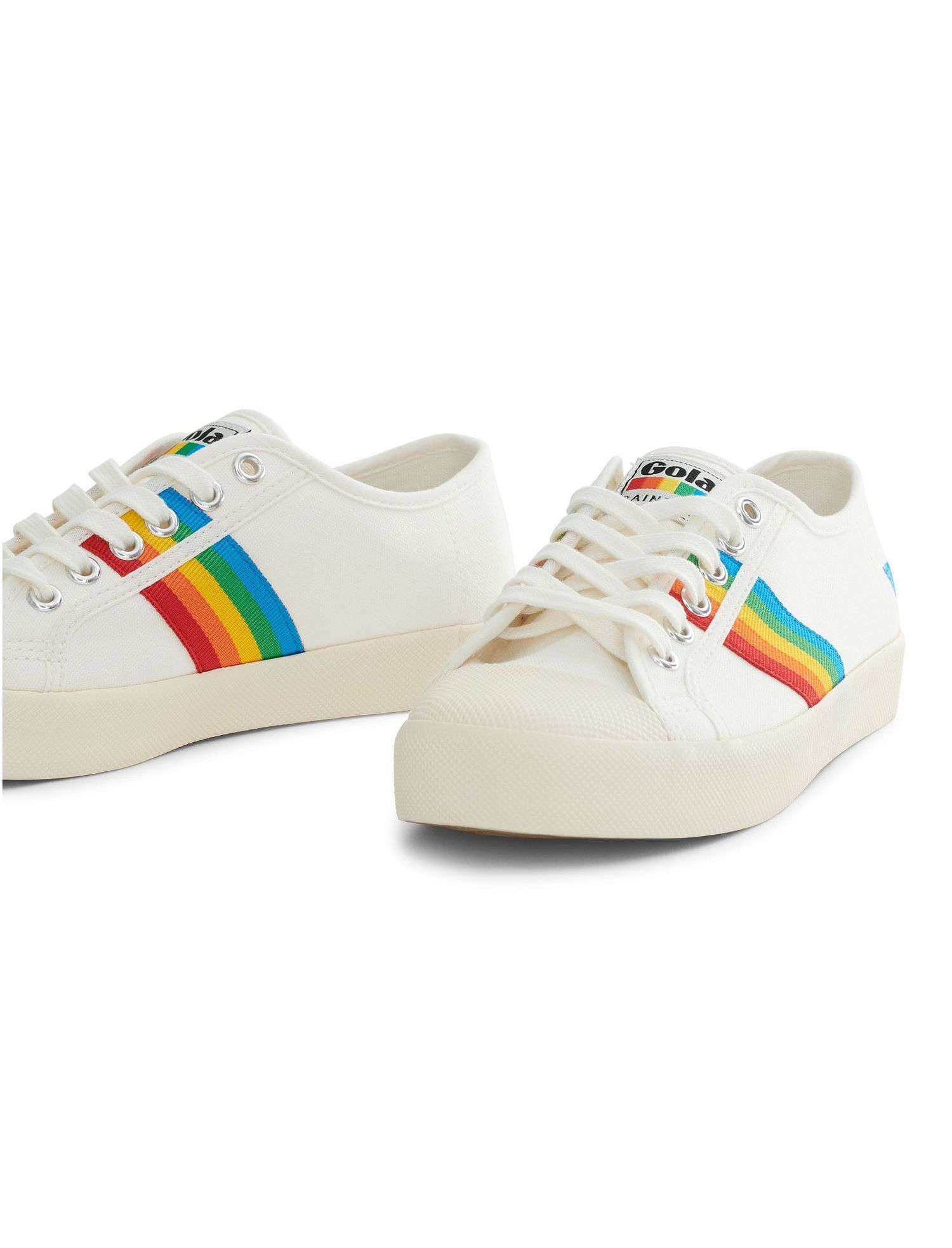 Retro Sneakers, Vintage Tennis Shoes Lucky Brand Gola Coaster Rainbow Canvas Sneaker In Off White Size 6 $65.00 AT vintagedancer.com