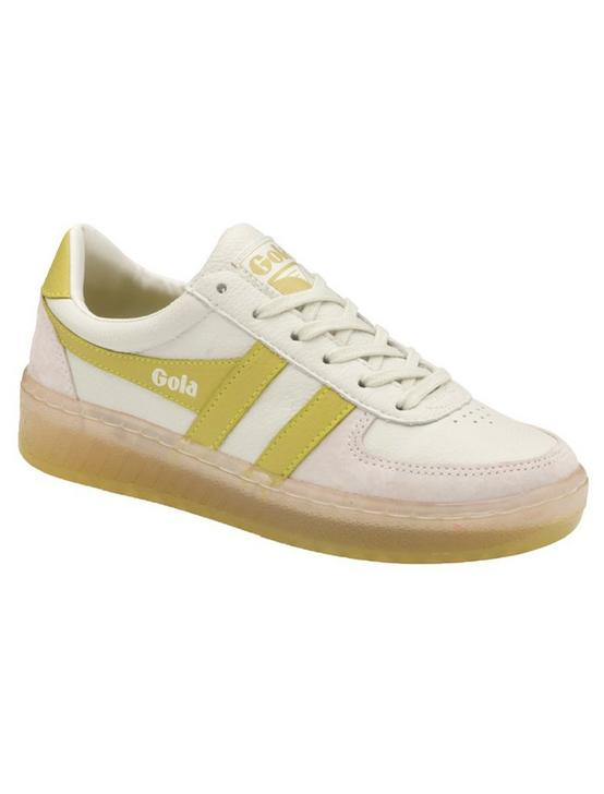 GOLA GRANDSLAM '89 LEATHER SNEAKER, WHITE/CITRON, productTileDesktop