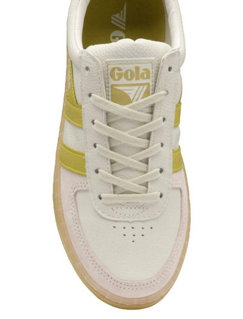 GOLA GRANDSLAM '89 LEATHER SNEAKER, WHITE/CITRON