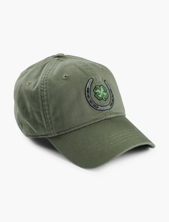 LUCKY HORSESHOE EMBROIDERED HAT, OLIVE, productTileDesktop