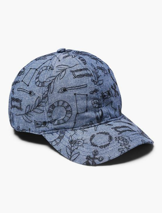 ALL OVER EMBROIDERED HAT, NAVY, productTileDesktop