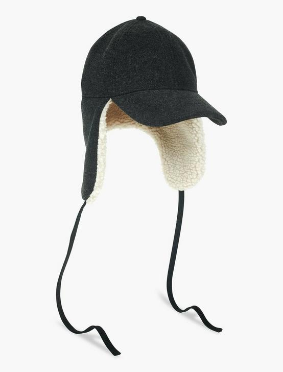 BRUSHED WOOL TRAPPER HAT, CHARCOAL, productTileDesktop