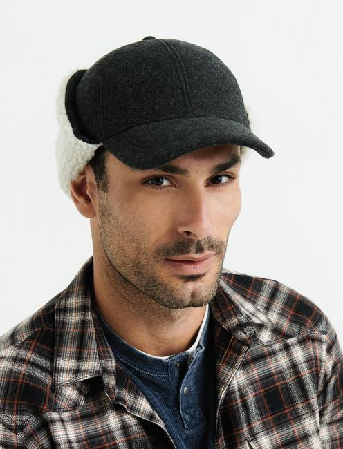 BRUSHED WOOL TRAPPER HAT, CHARCOAL