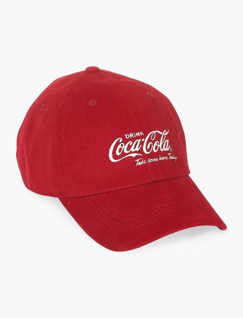 COCA-COLA CORDUROY BASEBALL HAT, RED