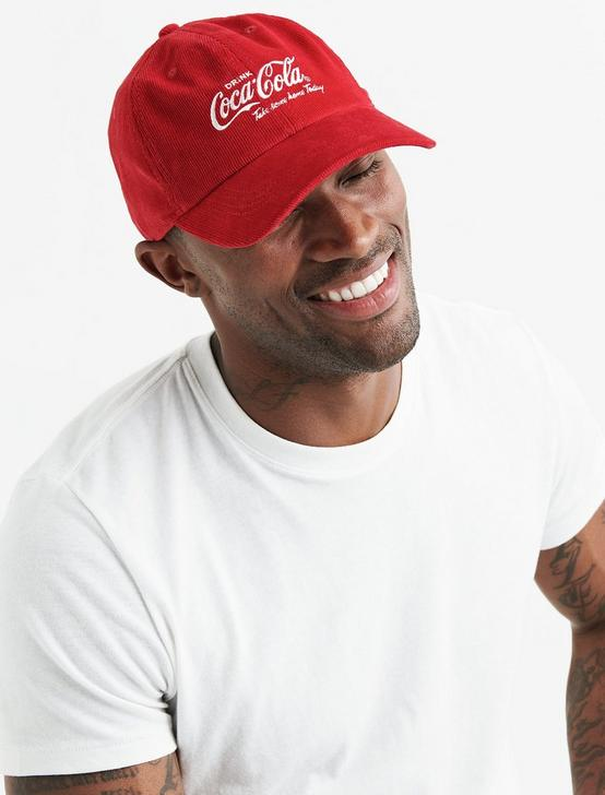 COCA COLA CORDUROY BASEBALL HAT, RED, productTileDesktop
