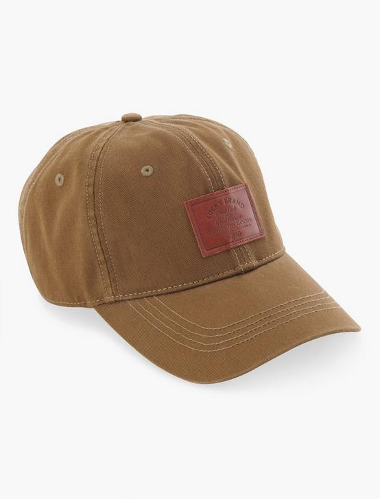 LEATHER TAG BASEBALL HAT, OLIVE, productTileDesktop