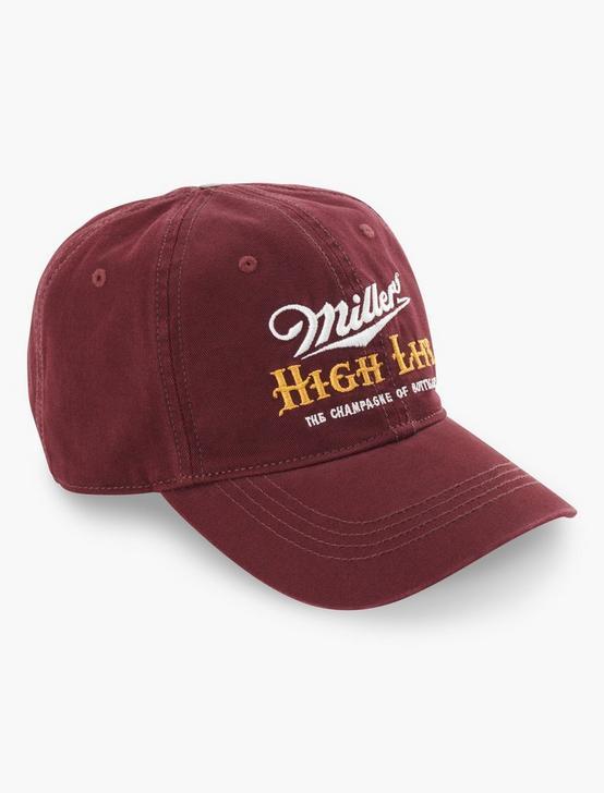 MILLER HIGHLIFE BASEBALL HAT, BURGANDY, productTileDesktop