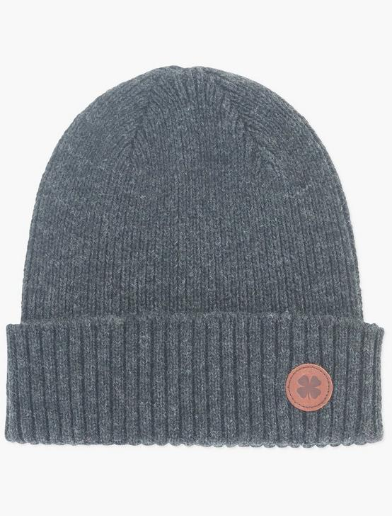LEATHER PATCH BEANIE, CHARCOAL, productTileDesktop