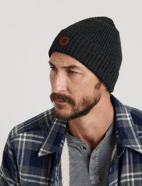 LEATHER PATCH BEANIE,