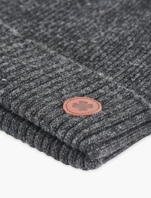 LEATHER PATCH BEANIE, CHARCOAL