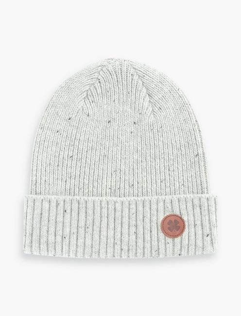 LEATHER PATCH NEP BEANIE, OFF WHITE