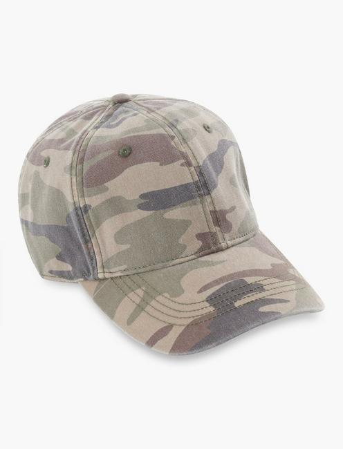 WASHED CAMO BASEBALL HAT, CAMO (ARMY COLORS)