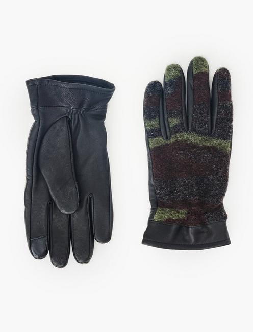 CAMO CONTRAST LEATHER GLOVES, BLACK