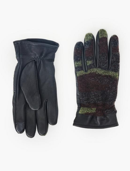 CAMO CONTRAST LEATHER GLOVES, BLACK, productTileDesktop