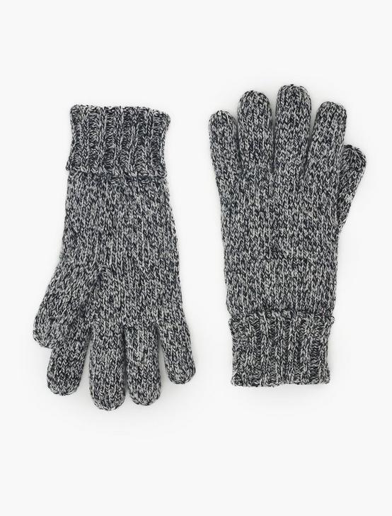 MELANGE KNIT TECH GLOVES, GREY MELANGE, productTileDesktop