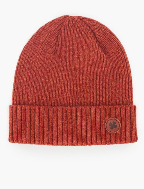 LEATHER PATCH LOGO BEANIE HAT,