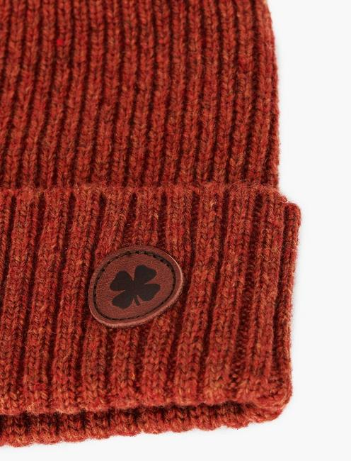 LEATHER PATCH LOGO BEANIE HAT, BURNT ORANGE