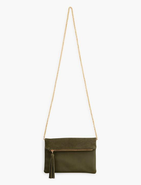 FOLDOVER DOUBLE CROSSBODY, OLIVE, productTileDesktop