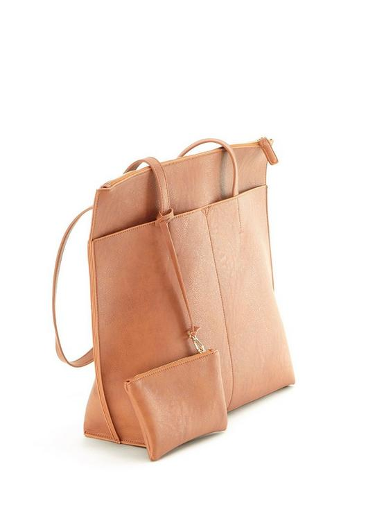 MULTI FRONT POCKET TOTE, COGNAC, productTileDesktop