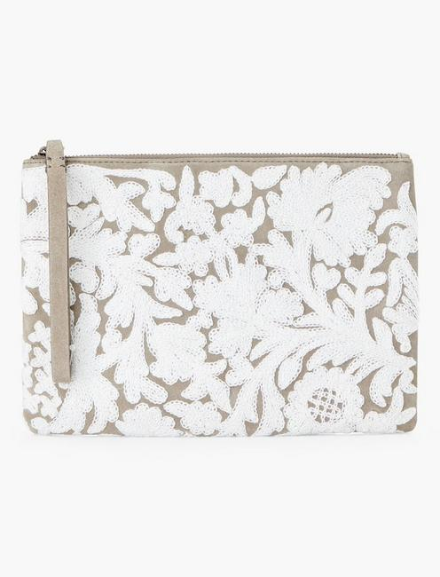 EMBROIDERED FLORAL POUCH,