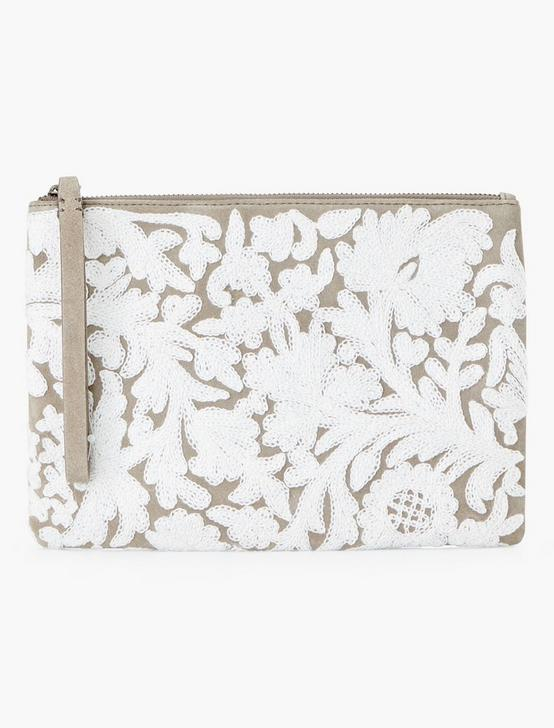 EMBROIDERED FLORAL POUCH, TAUPE, productTileDesktop