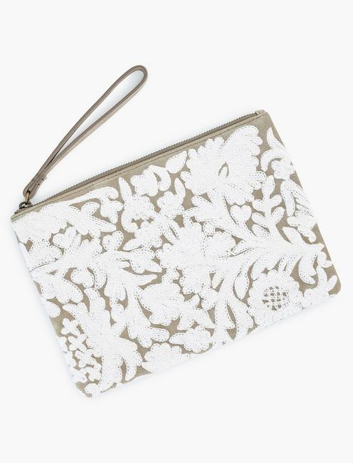 EMBROIDERED FLORAL POUCH, TAUPE