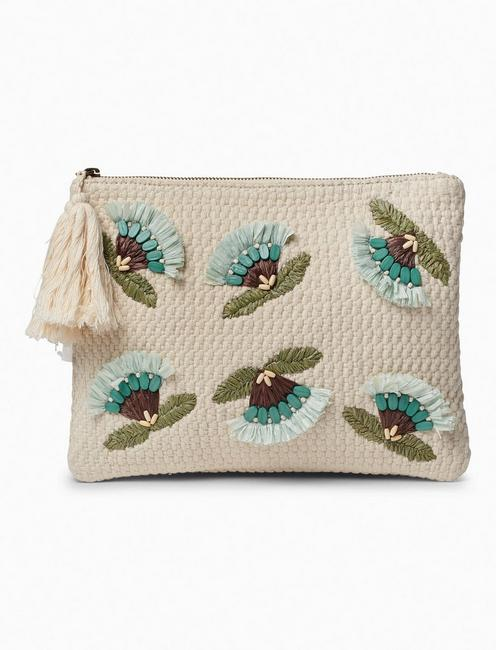 RAFFIA FLOWER ZIP TOP POUCH,