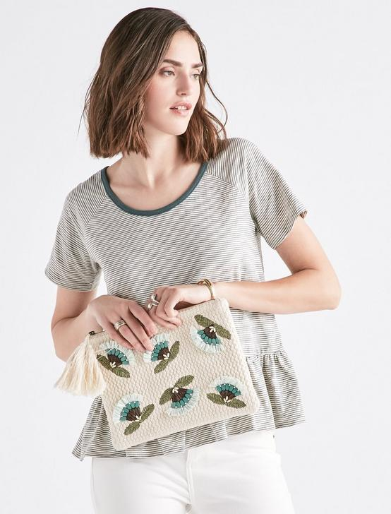 RAFFIA FLOWER ZIP TOP POUCH, NATURAL, productTileDesktop