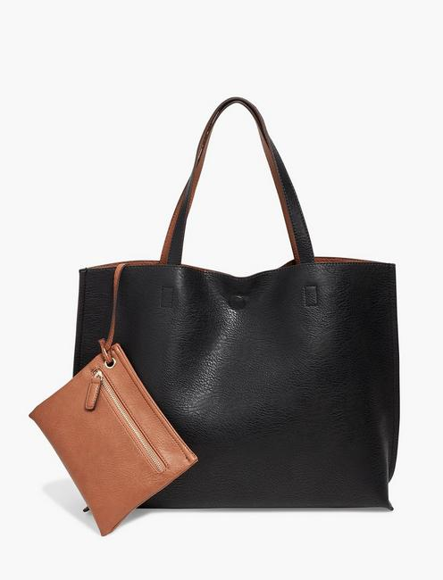 REVERSIBLE VEGAN LEATHER TOTE BAG, BLACK