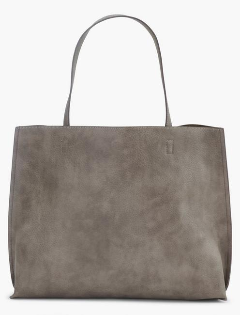 REVERSIBLE VEGAN LEATHER TOTE, DARK BROWN