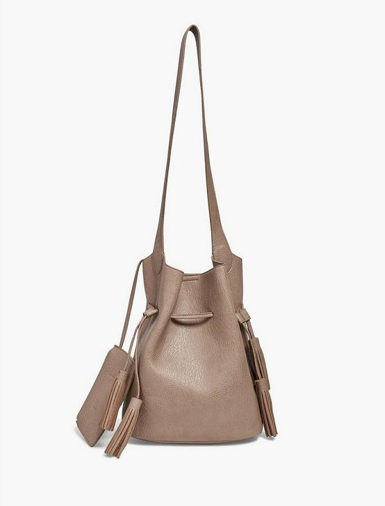 DRAWSTRING VEGAN LEATHER BUCKET, LIGHT BROWN, productTileDesktop