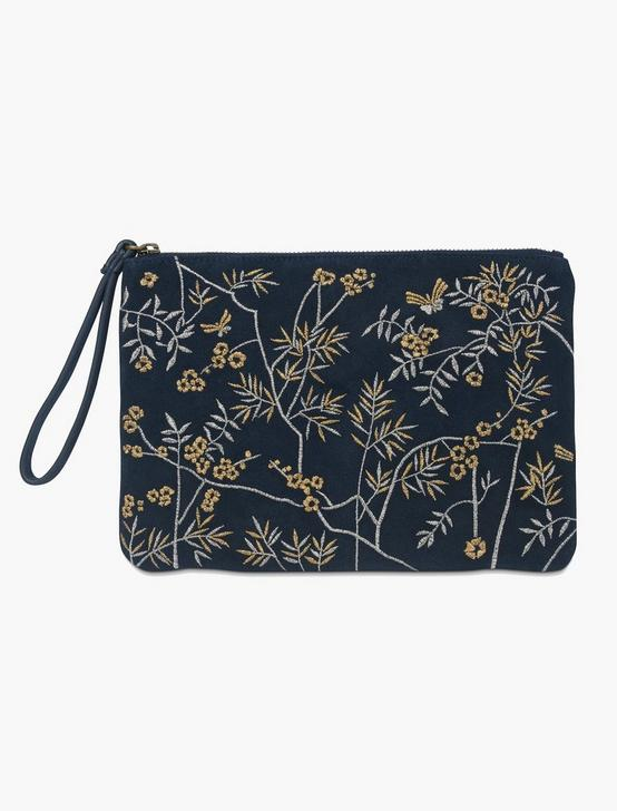 METALLIC GARDEN EMROIDERIED POUCH, navy, productTileDesktop